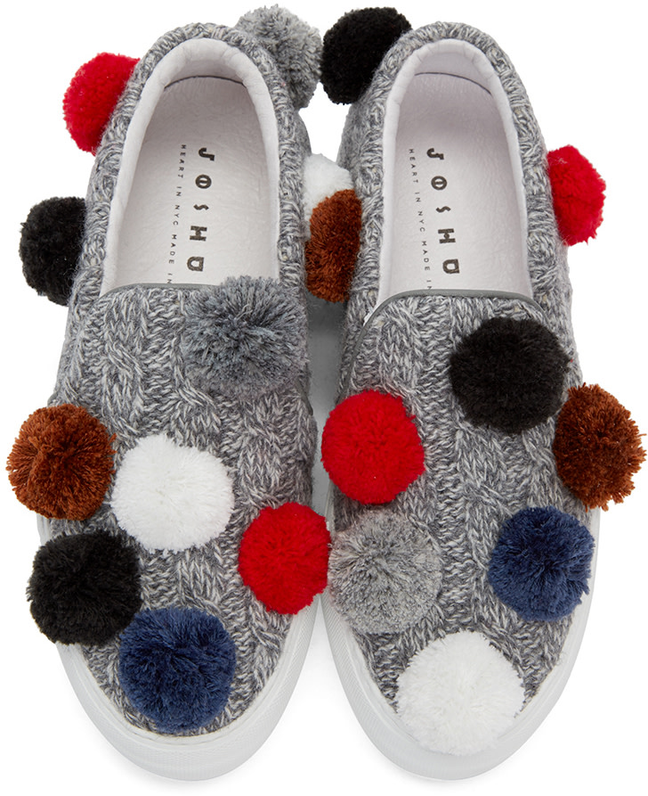 Joshua Sanders - Grey Knit Pom Pom Slip-On Sneakers