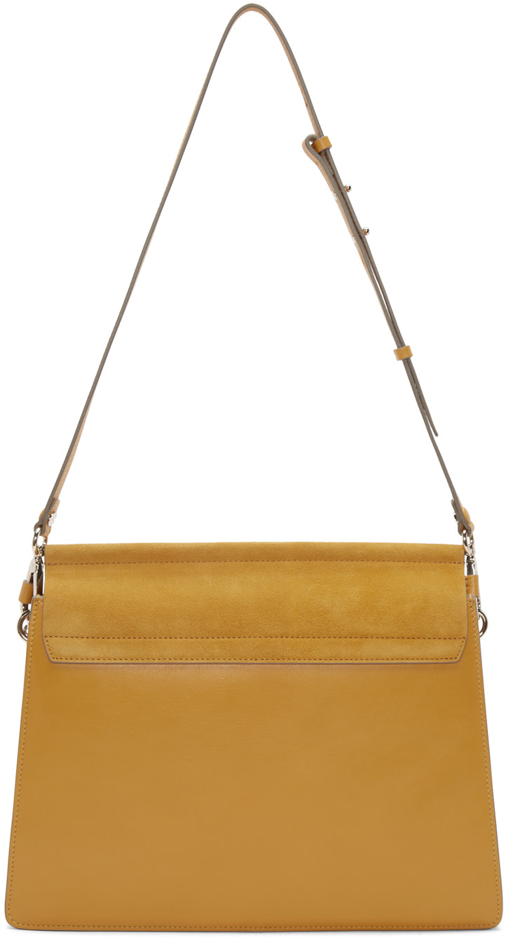 chloe yellow leather and suede medium faye bag