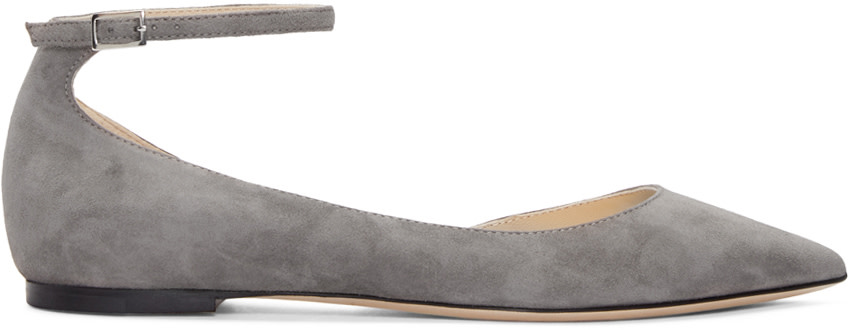 JIMMY CHOO Grey Suede Lucy Flats at SSENSE