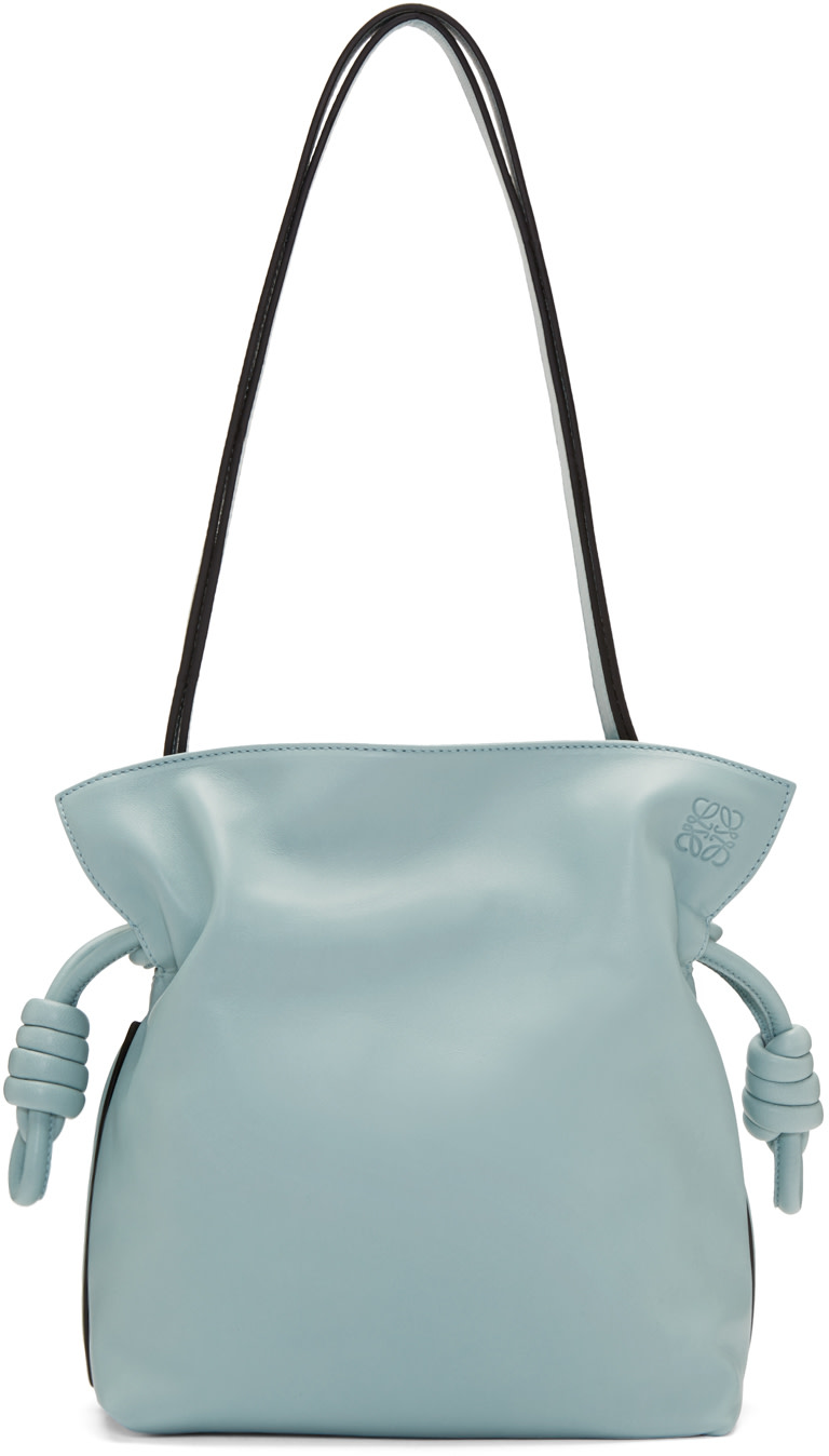 loewe flamenco knot small leather shoulder bag in lightblue