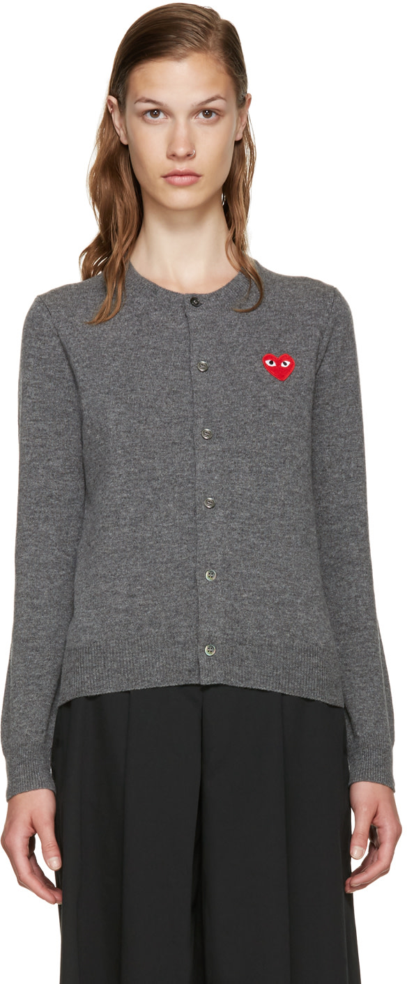 Comme Des Garcons Play Grey Wool Heart Patch Cardigan, 3 Grey