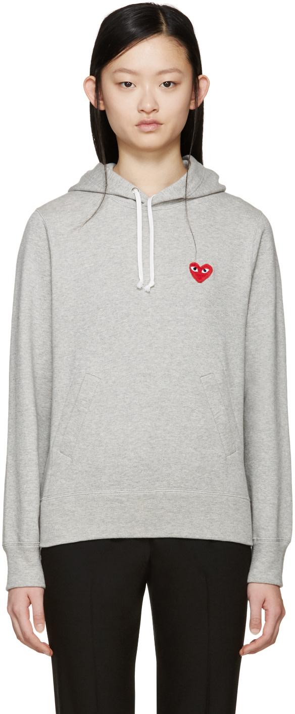 4fb301051fb7f6 COMME DES GARÇONS PLAY Grey Heart Patch Hoodie