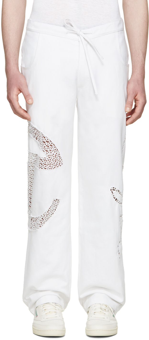 White Basic Lace Jeans