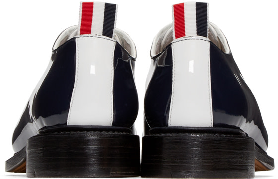 THOM BROWNE Tricolor Patent Leather Bow Oxfords