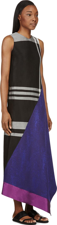 DAMIR DOMA Grey Colorblocked Side-Drape Dress