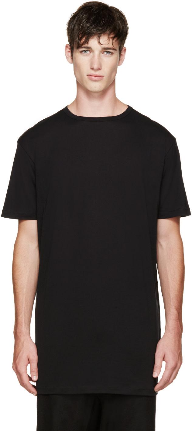 THAMANYAH Black Fine Cotton T-Shirt