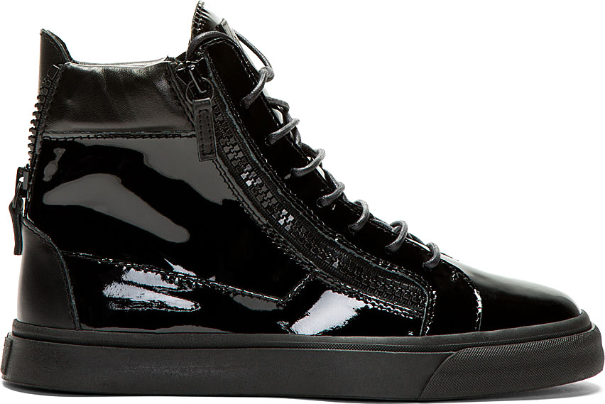 Giuseppe Zanotti: Black Patent Leather High-Top Sneakers ...