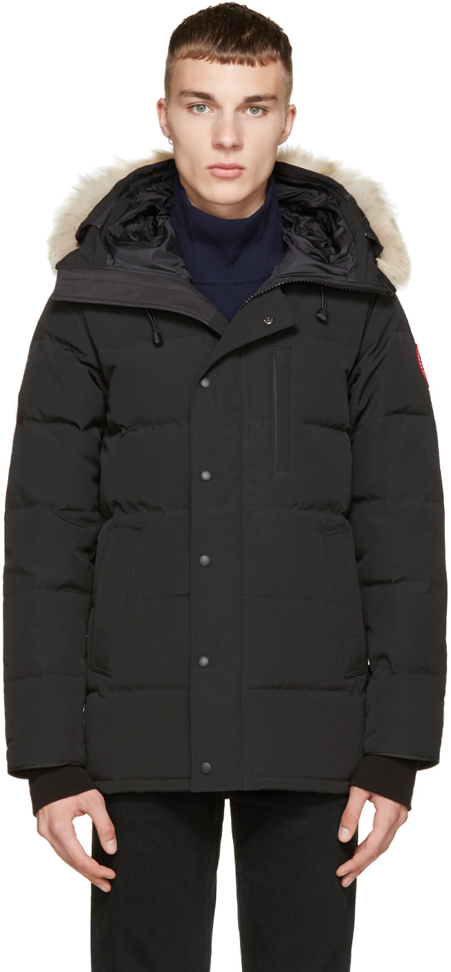 Canada Goose expedition parka online shop - Canada Goose: Black Down & Fur Black Label Carson Parka | SSENSE