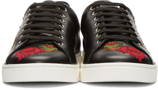 DOLCE & GABBANA Leathers Black Cowboy & Roses Sneakers