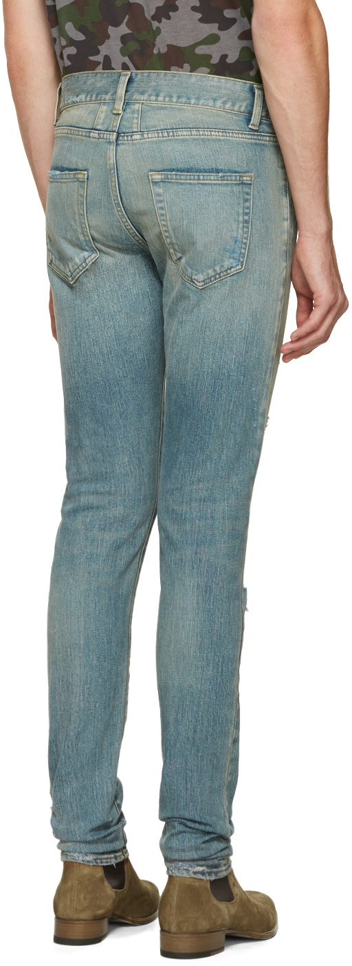 Saint Laurent - Blue Original Low Waisted Destroyed Skinny Jeans