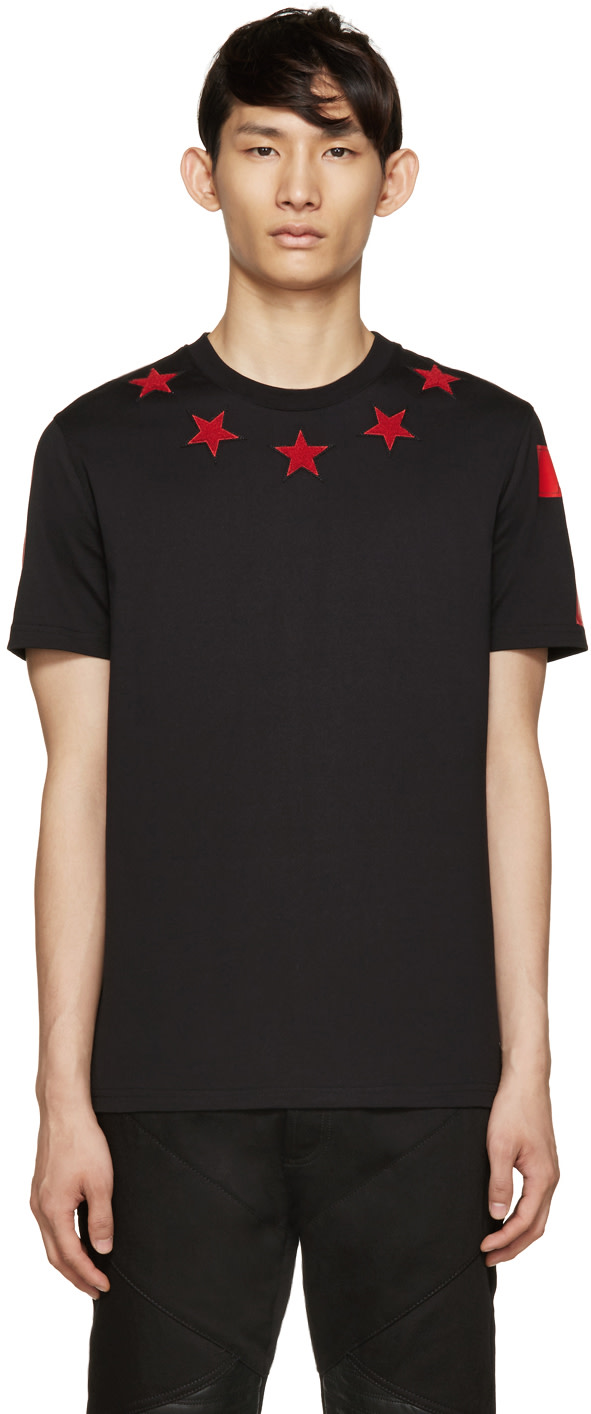 Givenchy black red stars t shirt ssense for Givenchy t shirt size chart