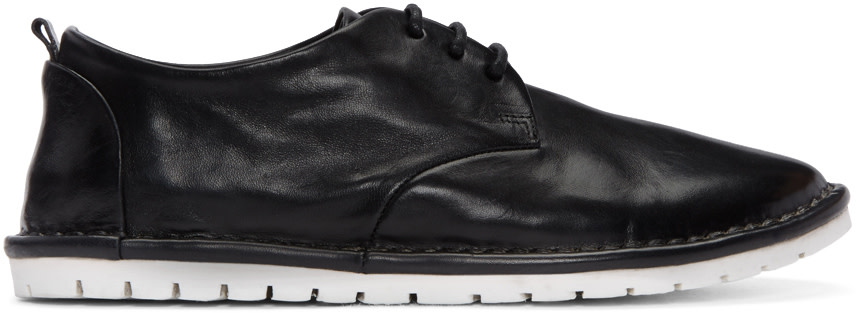 MARSÈLL GOMMA Contrast Sole Lace-Up Loafers in Black