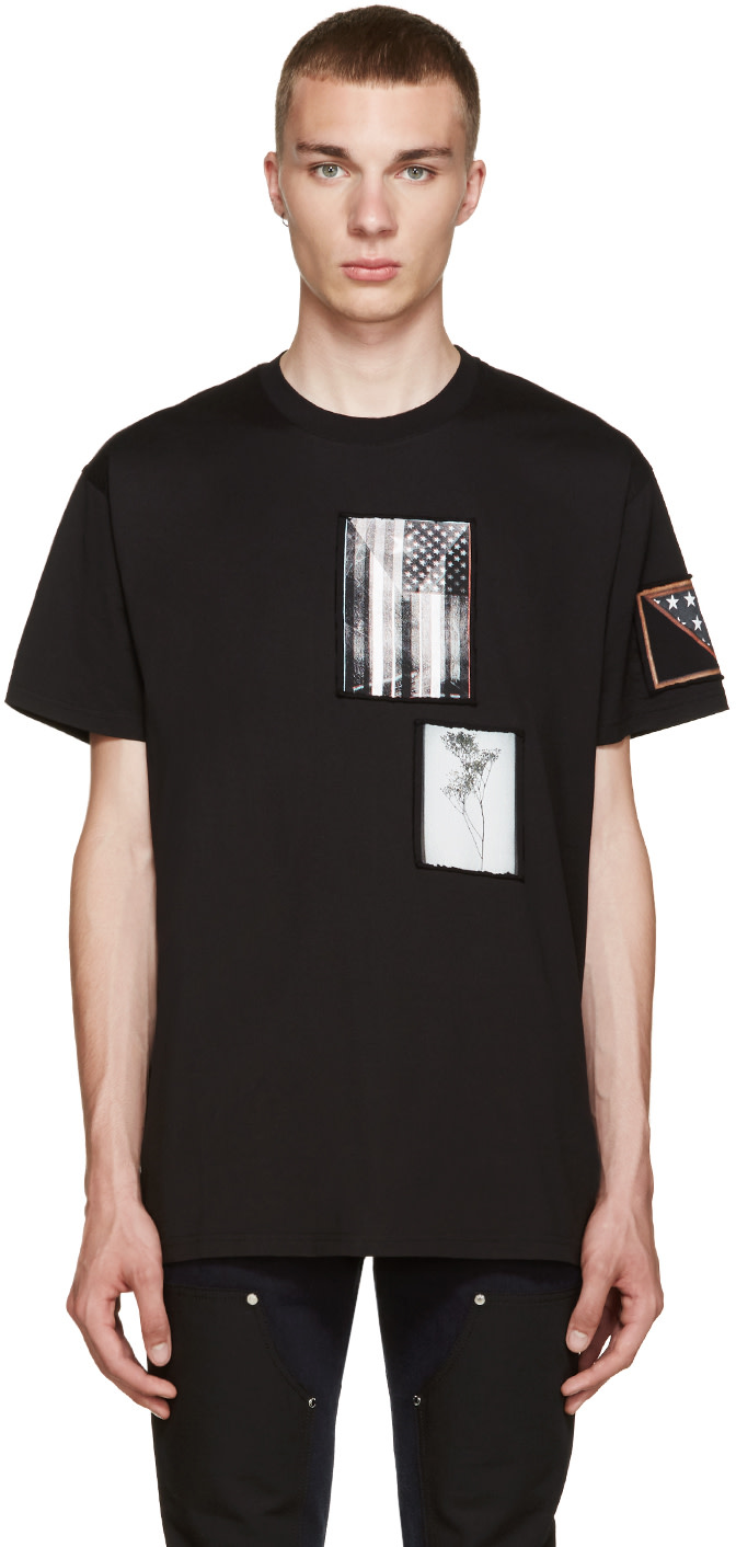 Givenchy black patchwork t shirt ssense for Givenchy t shirt size chart