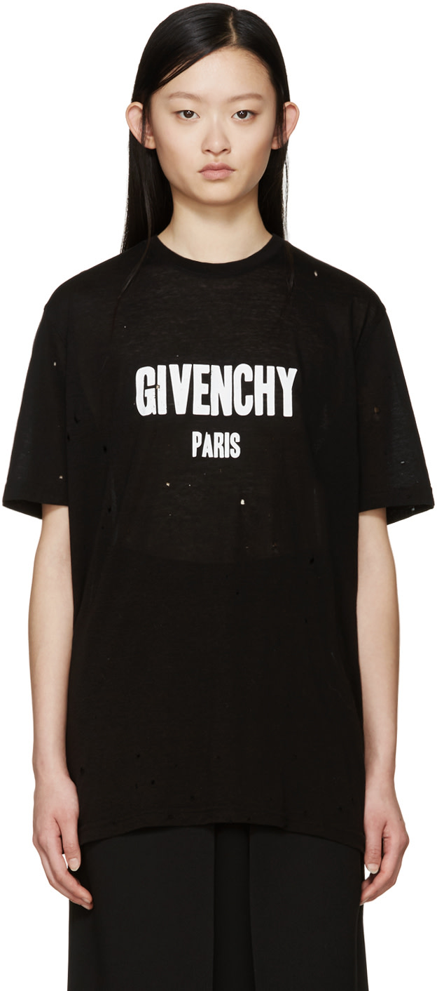 Givenchy black distressed logo t shirt ssense for Givenchy t shirt size chart