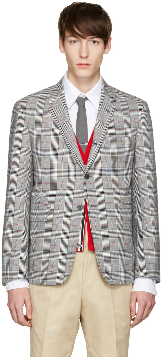 Thom Browne: Tricolor Classic Gingham Blazer