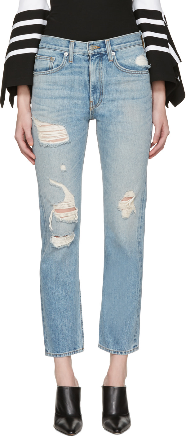 Blue Distressed Wright Jeans