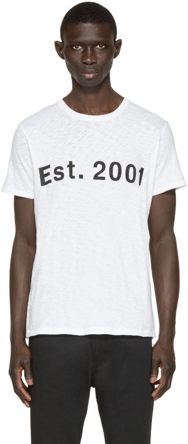 Rag Bone White Est 2001 T Shirt Ssense