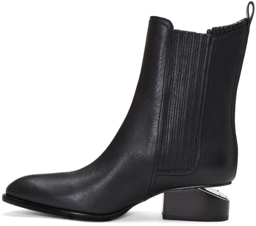 5 stores in stock alexander wang anouck chelsea leather boots with rose gold hardware black. Black Bedroom Furniture Sets. Home Design Ideas