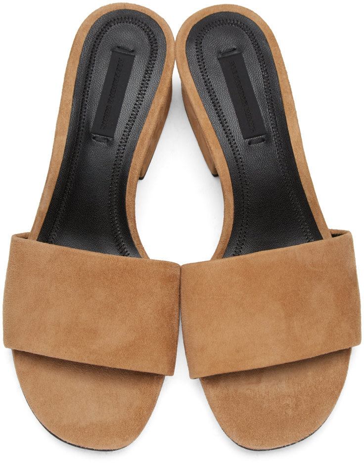 ALEXANDER WANG Lou Suede Sandal With Rhodium - Camel in Clay