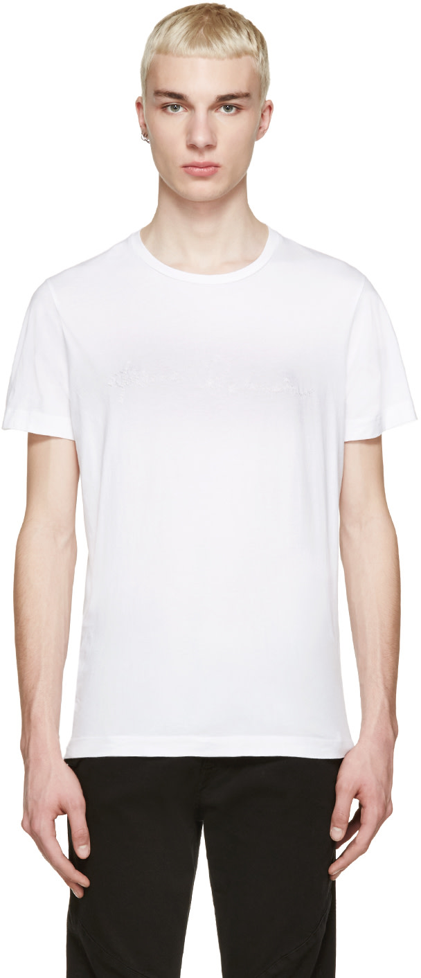 Pierre balmain white embroidered logo t shirt ssense for Balmain white logo t shirt