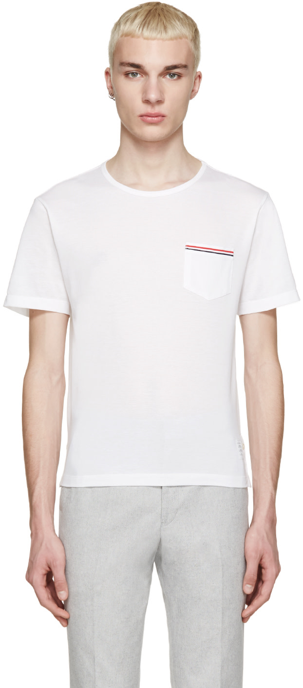 Thom browne white piqu t shirt ssense for Thom browne t shirt