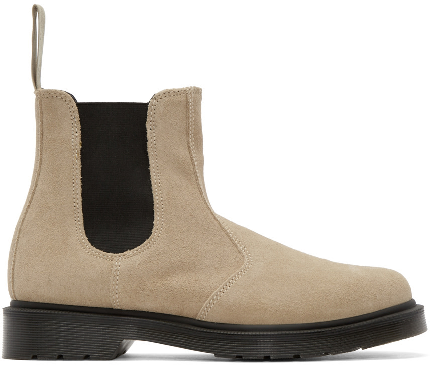 dr martens beige suede chelsea boots ssense. Black Bedroom Furniture Sets. Home Design Ideas