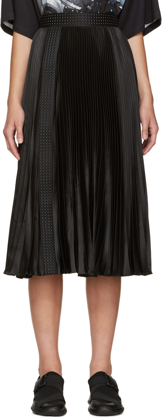 christopher black satin pleated skirt ssense