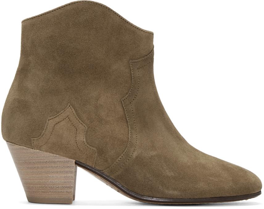 isabel marant brown suede dicker ankle boots ssense. Black Bedroom Furniture Sets. Home Design Ideas