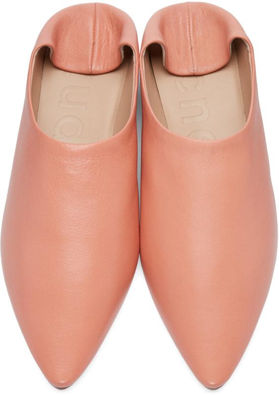 ACNE STUDIOS Amina Backless Leather Slipper Shoes