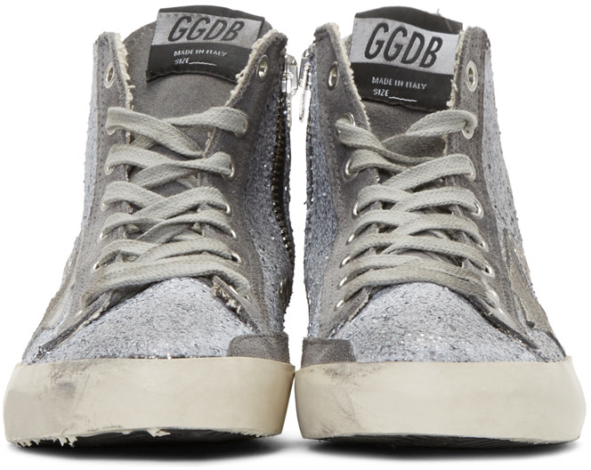 GOLDEN GOOSE Francy Distressed Glittered Suede High-Top Sneakers in Gun Metal Glitter Brush