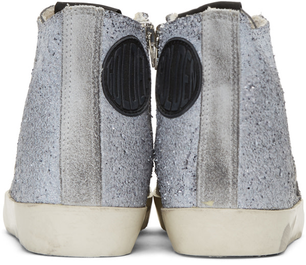GOLDEN GOOSE Francy Distressed Glittered Suede High-Top Sneakers