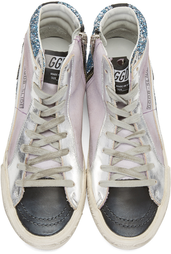 GOLDEN GOOSE Multicolor Slide High-Top Sneakers in Blue Glitter/Lilac Suede