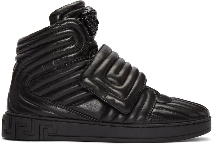 versace black quilted medusa high top sneakers ssense. Black Bedroom Furniture Sets. Home Design Ideas