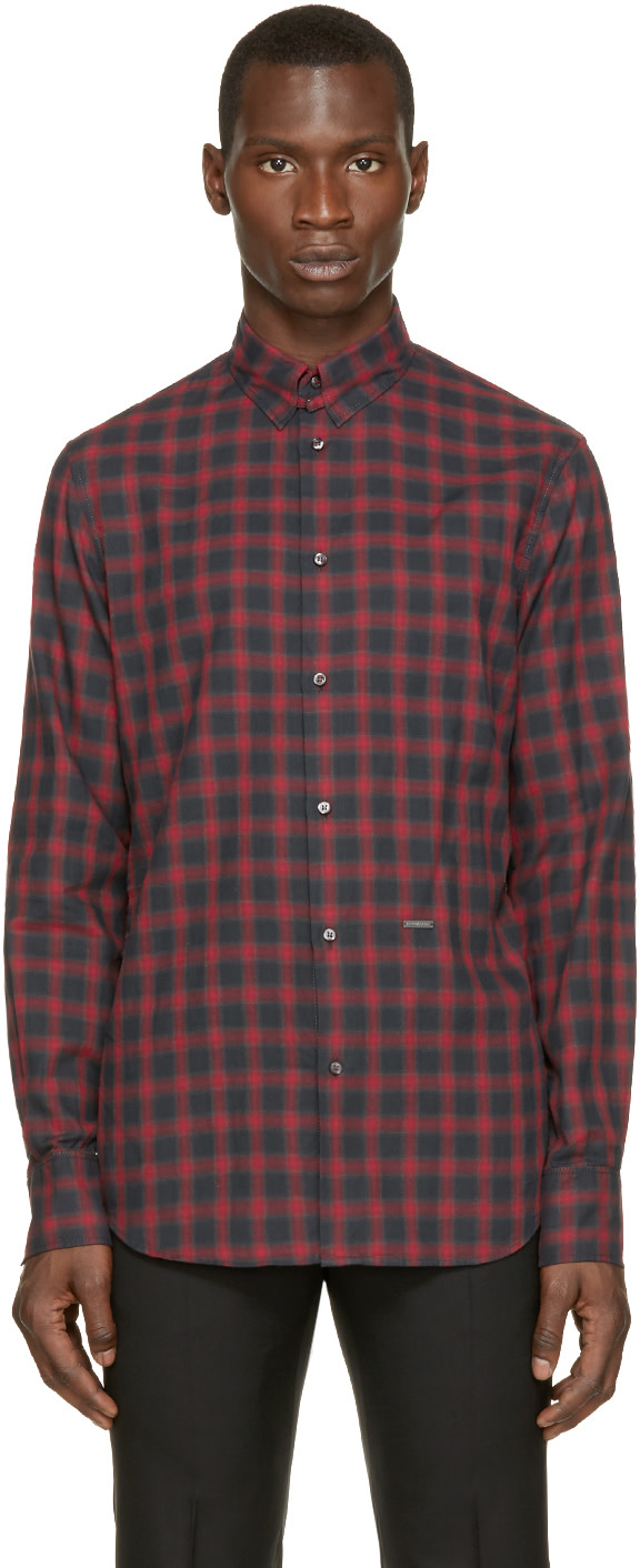 Dsquared2 Red Grey Check Shirt Ssense