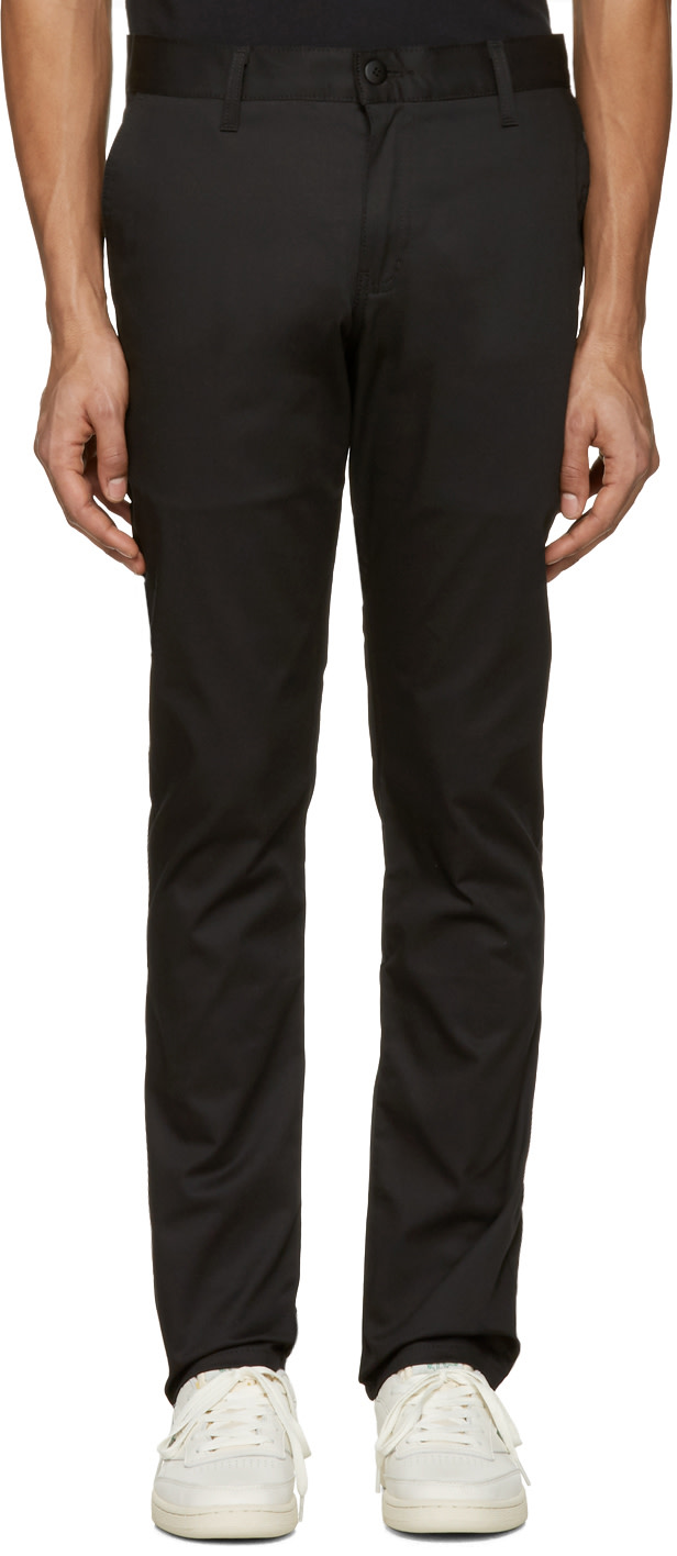 Naked And Famous Black Slim Chino Trousers