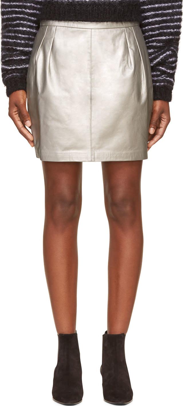 blk dnm silver leather mini skirt ssense