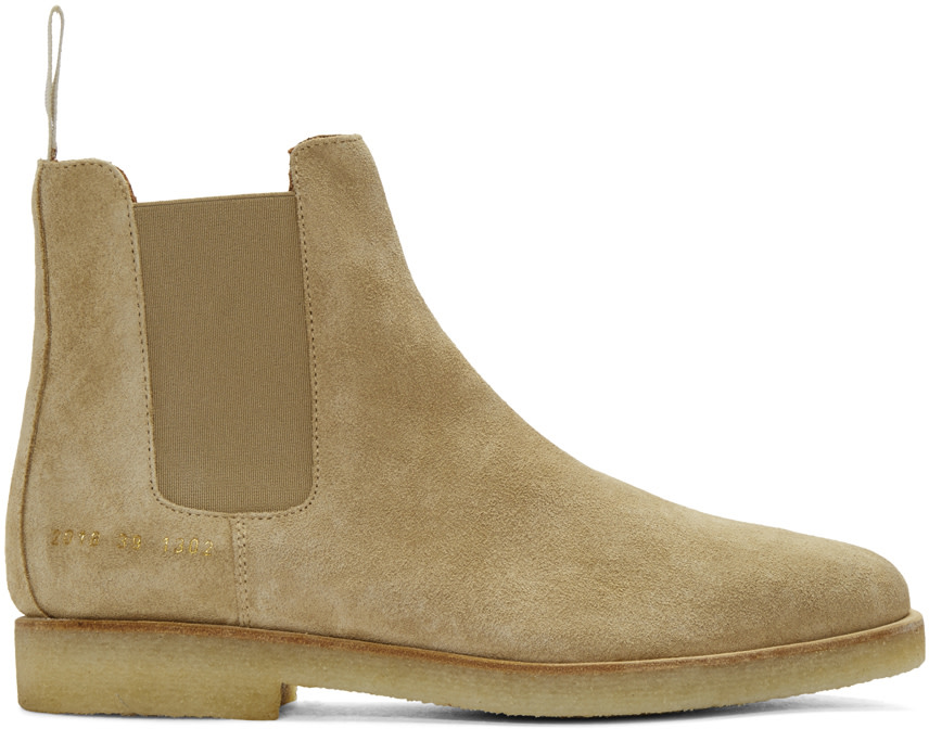 common projects beige suede chelsea boots ssense
