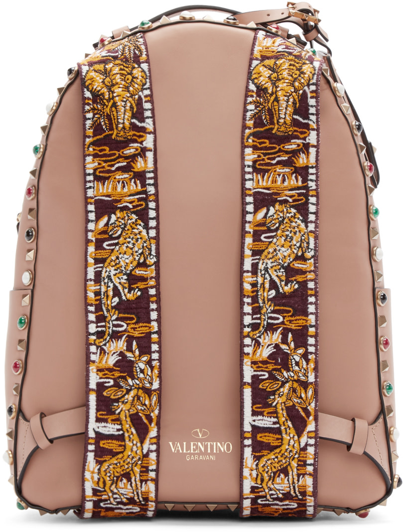 Valentino - Tan Stone & Rockstud Guitar Backpack