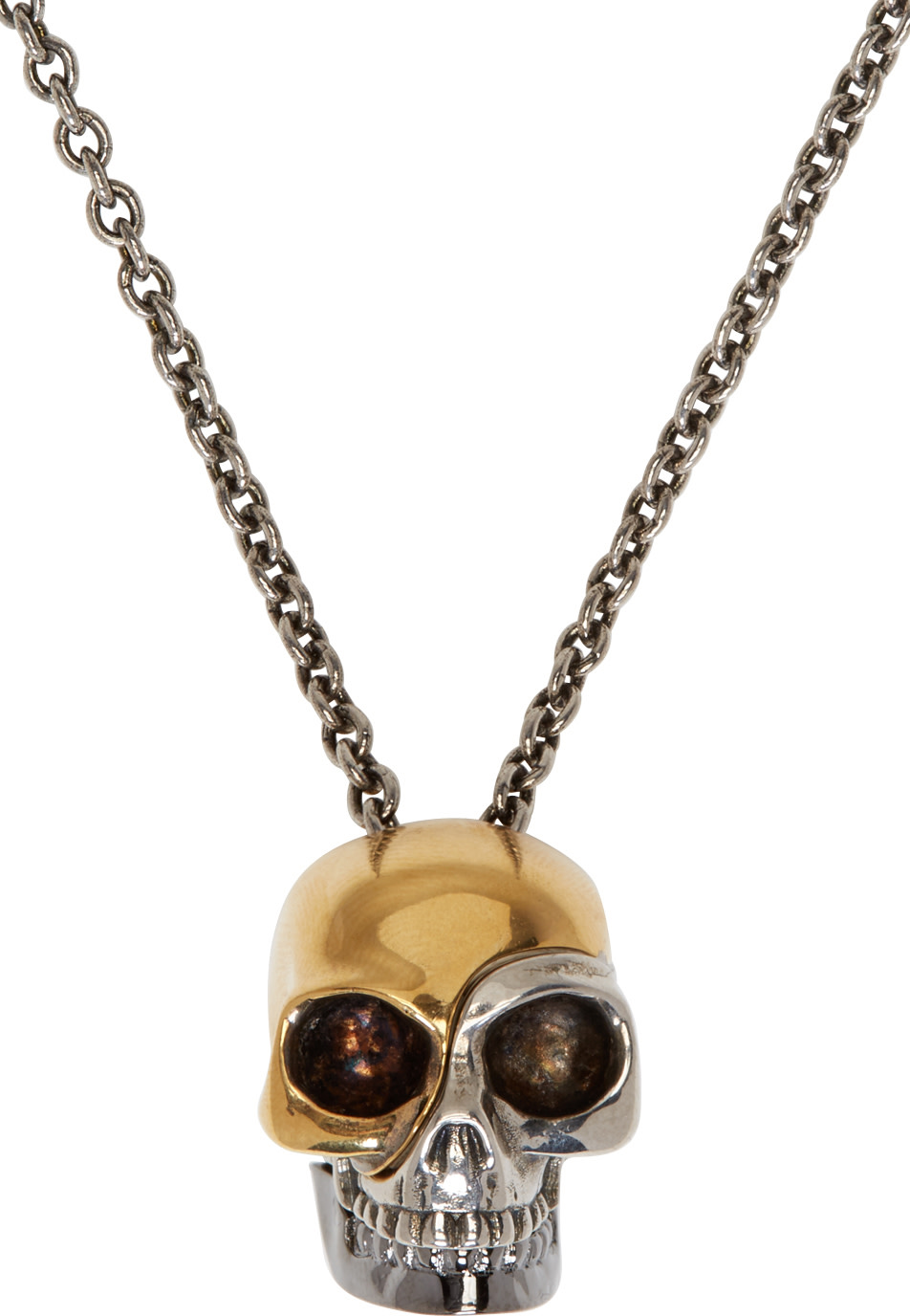 2ec4d73549b592 Very Goods Alexander Mcqueen Silver Gold Divided Skull Necklace