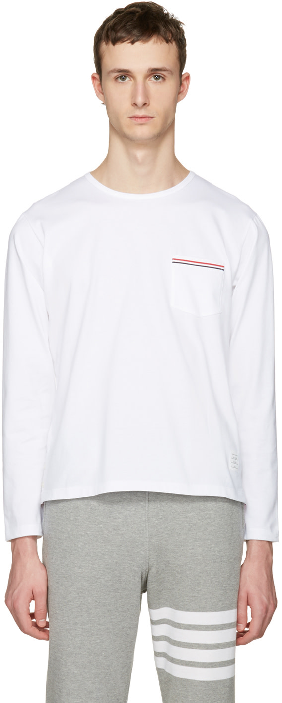 Thom browne white pocket t shirt ssense for Thom browne t shirt