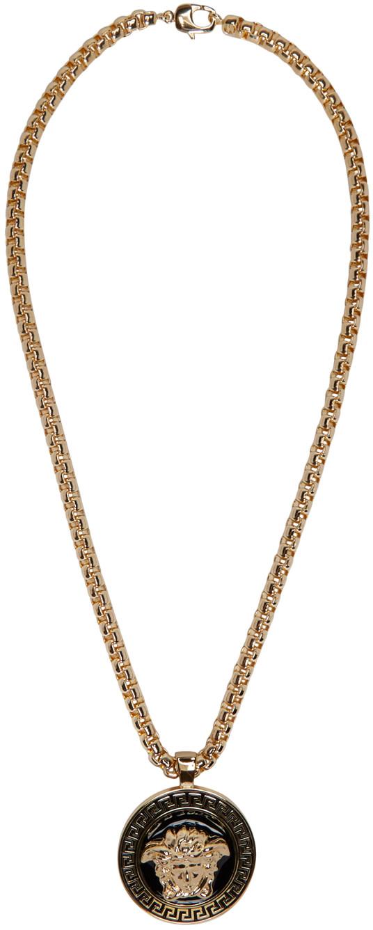 Versace: Gold & Black Medusa Chain Necklace | SSENSE