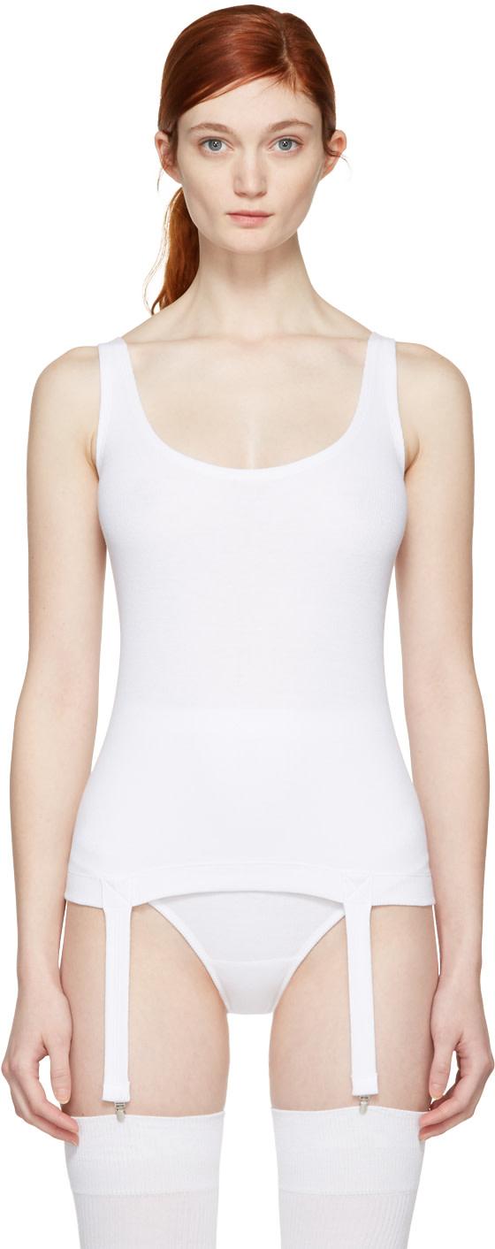 MARIEYAT White Nina Suspenders Tank Top
