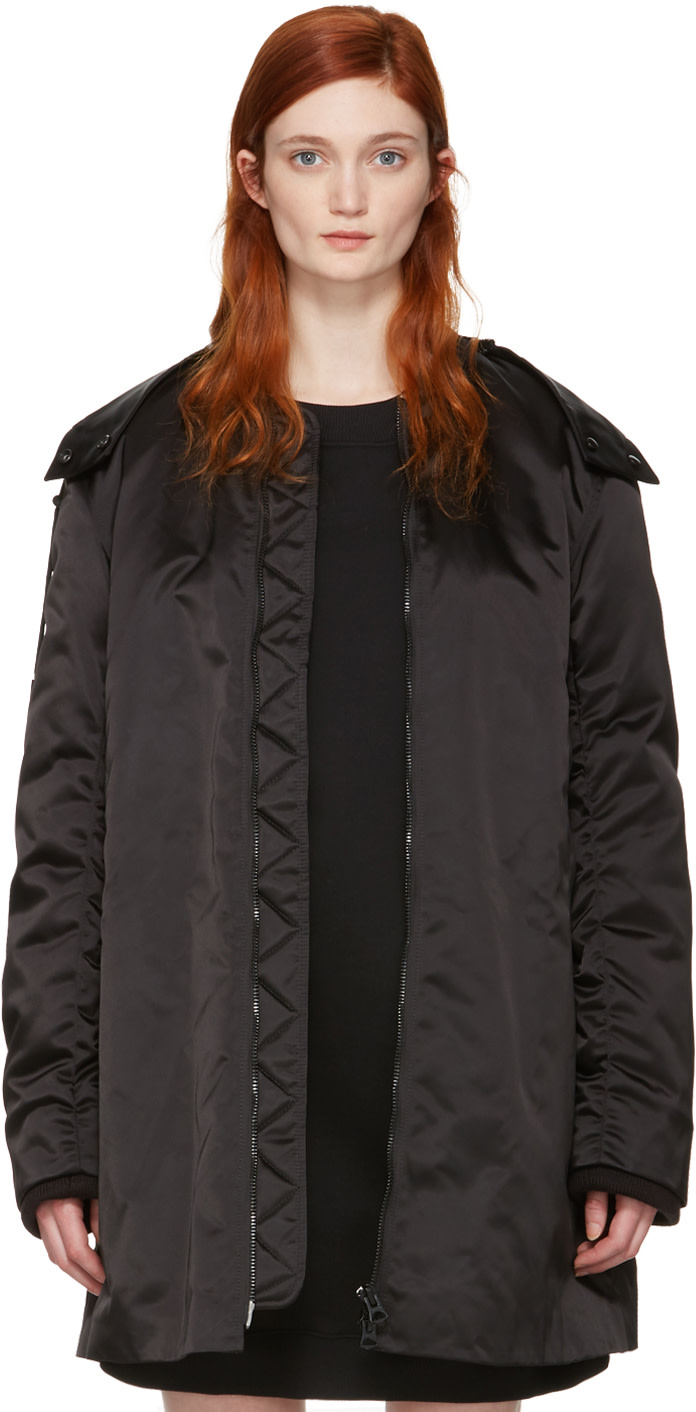 Acne Studios Lexi Ruched Satin Bomber Jacket In Black