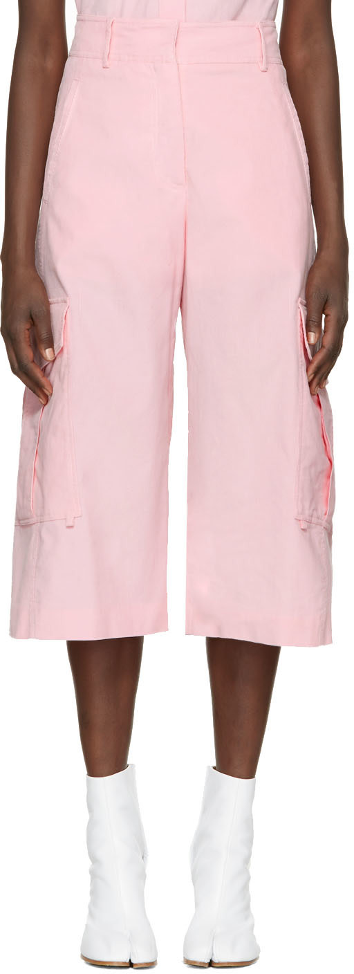 Sidney Cropped Wide-Leg Cotton Cargo Trousers, Light Pink