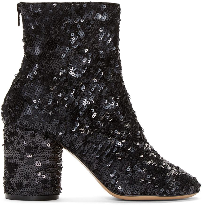 maison margiela black sequin sock boots ssense