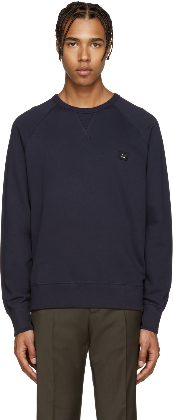 acne studios navy college face pullover ssense. Black Bedroom Furniture Sets. Home Design Ideas