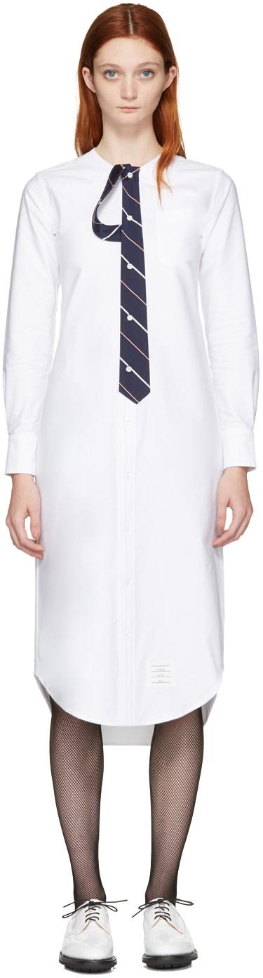 Thom browne white tie shirt dress ssense for Thom browne white shirt