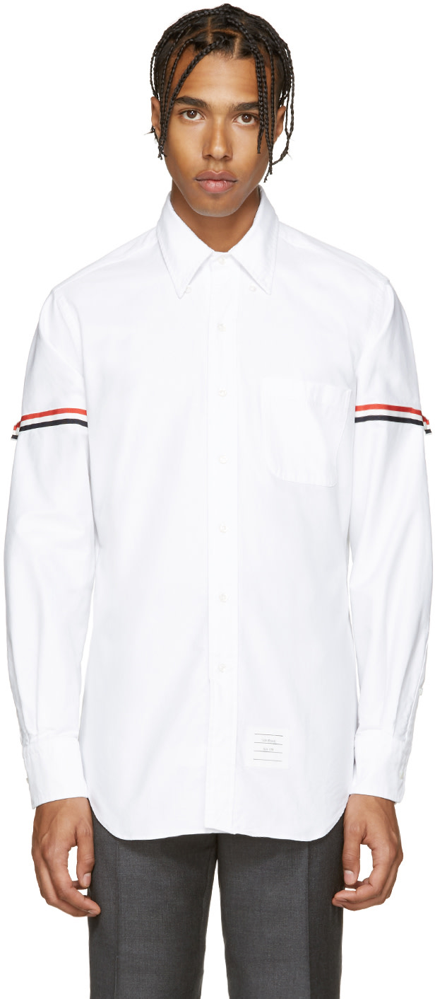 Thom browne white armbands shirt ssense for Thom browne white shirt
