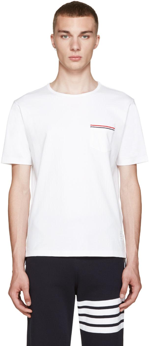 Thom browne white pocket t shirt ssense for Thom browne white shirt