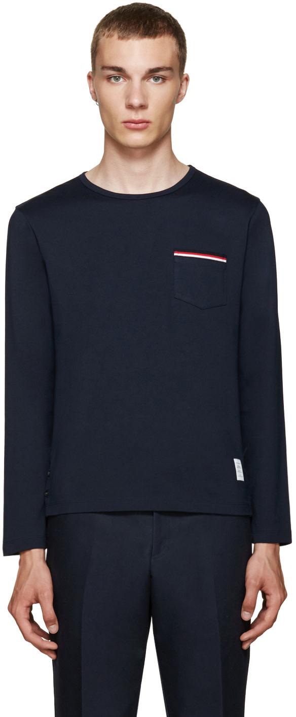 Thom browne navy pocket t shirt ssense for Thom browne t shirt